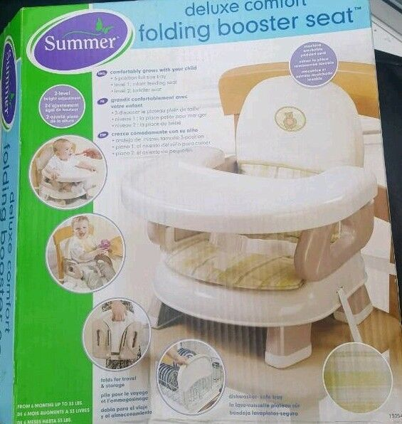 Folding booster feeding seat with tray