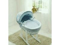 Kinder valley blue Dimple with white Wicker moses basket with FREE Rocking stand. Brand new 5 left.
