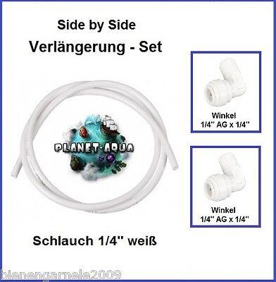 Side-by-Side Kühlschrank Filter Anschluss SET - 10m Schlauch 2x Winkel Verbinder (Kühlschrank Schlauch-anschluss)