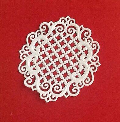 4 Heartfelt Creations Round Lattice Die Cuts, Embossed, Handmade