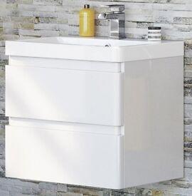 600 mm Modern Gloss White Bathroom Basin Drawer Unit – Wall Hung - RRP £240