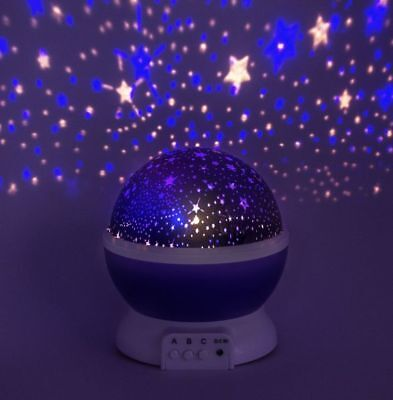 Star Projector Lamp Night Light Sky Led Starry Kids Baby Rotating Constellation