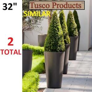 NEW* ROUND GARDEN PLANTERS 2PK CTR32BK 199717280 TUSCO PRODUCTS COSMOPOLITAN BLACK 32' PACK OF 2