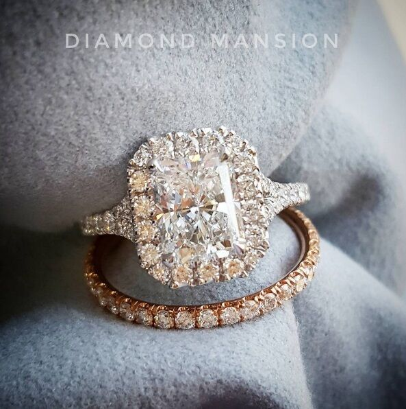 1.80ctw Natural Radiant Halo Pave Diamond Engagement Wedding Set - GIA Certified