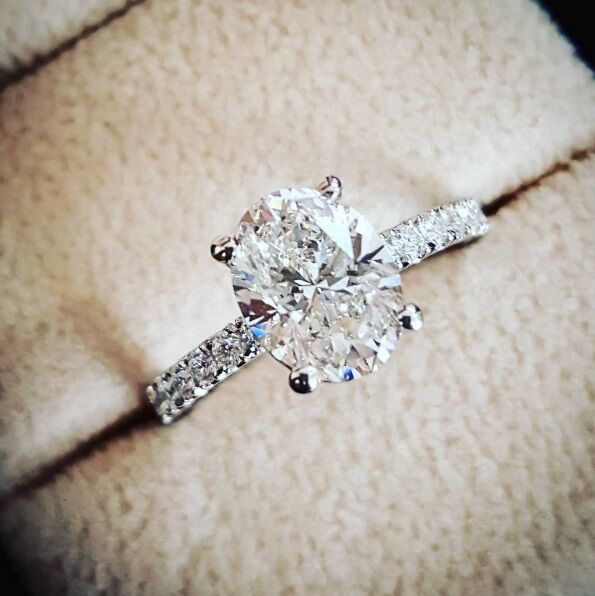 1.80ctw Natural Oval Pave Diamond Engagement Ring - GIA Certified