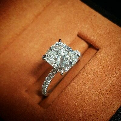 2.30ct Natural Cushion Pave Diamond Engagement Ring - GIA Certified