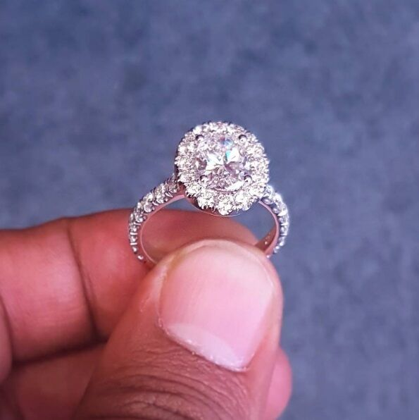 1.60ctw Natural Round Halo Pave Diamond Engagement Ring - GIA Certified