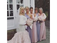 4 x bridesmaid faux fur shawls