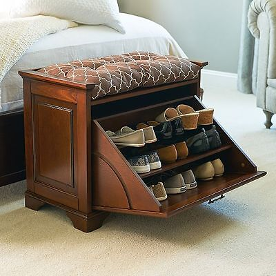Small Space Shoe Storage Bench Entryway Organizer Furniture Seat 3 Colors