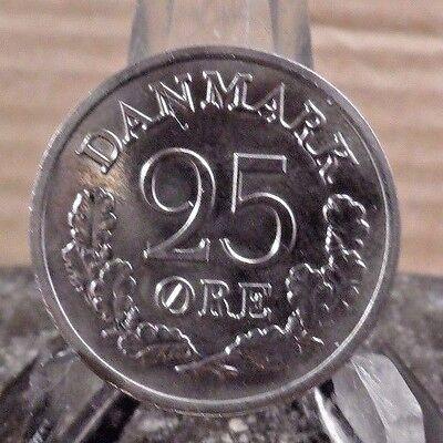 CIRCULATED 1965 25 ORE DENMARK COIN (71617)2