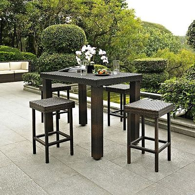 Outdoor Brown Resin Wicker 5 Piece Bar Height Patio Dining Set Table 4 Stools  ()