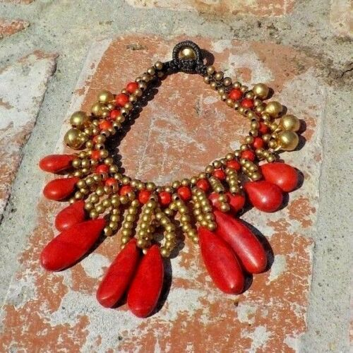 RED STONE BRASS BELLS & BEADS ANKLET TRIBAL BELLY DANCE BOHO COSTUME FREE SHIP