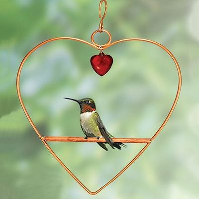 Copper Tweet Heart Hummingbird Swing With Red Heart Shaped Hanging Bead