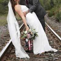 Beautiful lace wedding gown and accessories