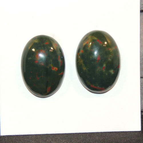 Bloodstone Cabochon 13x18mm with 5mm dome from India set of 2 (12508)