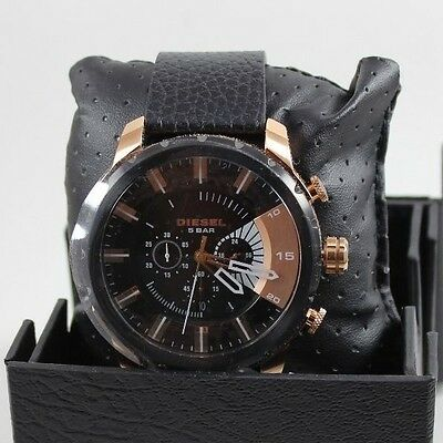 NEW AUTHENTIC DIESEL STRONGHOLD BLACK ROSE GOLD CHRONOGRAPH MEN'S DZ4347 WATCH