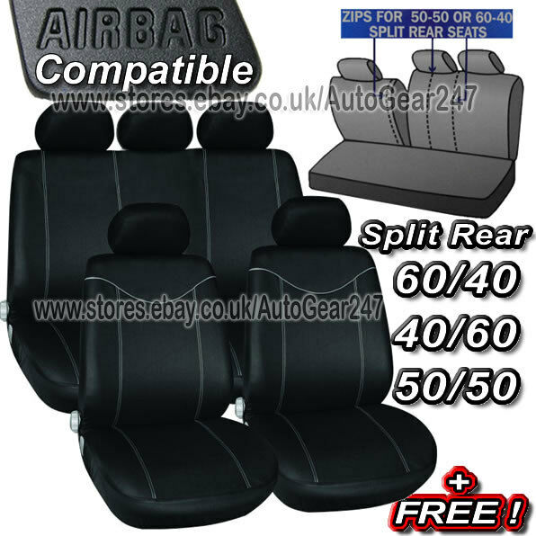 Black Grey Stitching Air Bag Friendly 5 Headrests,Split Rear,Car Seat Covers Set