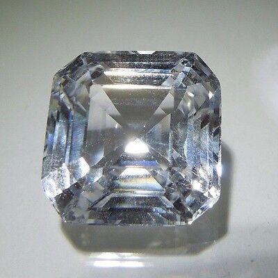 Asscher Square 8 x 8 mm 3.1 ct Natural White Sapphire Brilliant Solitaire Cut