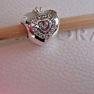 Authentic Pandora Charm Princess Heart 925 Silver   14K Gold 791375Pcz