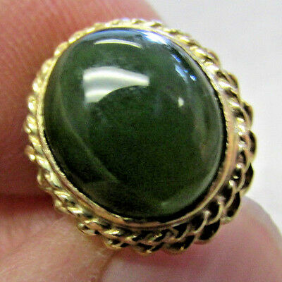 Beautiful Green Jade Tie Tack Pin in 14k Gold  Deep Green  No Reserve