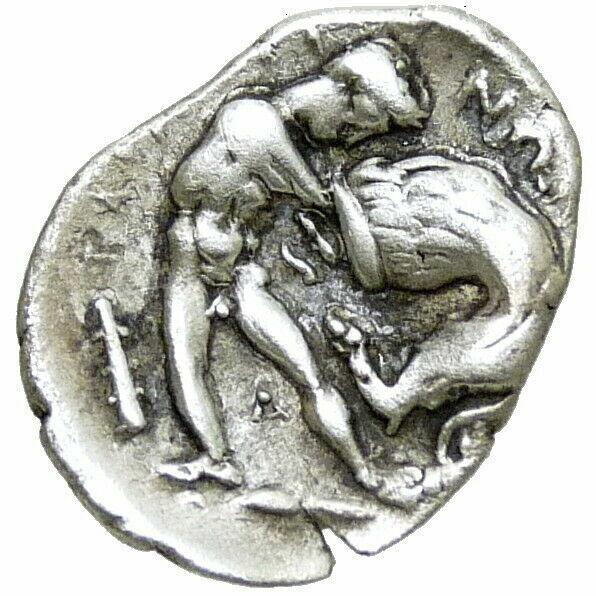 HERAKLES strangling Nemean, Lion ATHENA in Helmet Tarentum Ancient Silver Coin