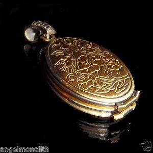 4 Foto ovales Biedermeier Medallion Medaillon Antik Amulett Anhänger Messing