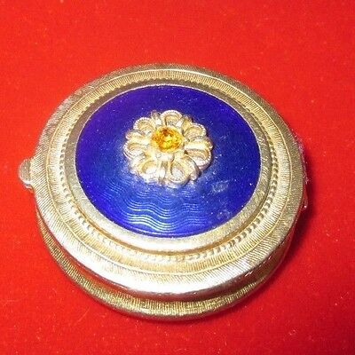 VINTAGE PERFUME COMPACT WITH BLUE ENAMEL GOLD FLOWER TOPAZ