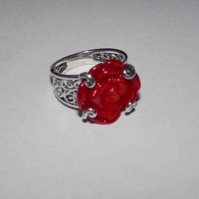 Carolyn Pollack Red Coral Rose Sterling Silver Ring Size 6