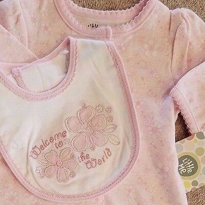 DARLING NEW LITTLE ME PREEMIE 2PC FLORAL FOOTED SLEEP N PLAY OUTFIT W/BIB REBORN
