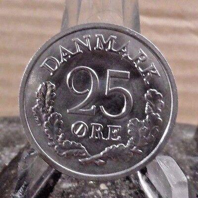 CIRCULATED 1965 25 ORE DENMARK COIN (71617)1