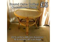 Round Cane Coffee/Occasional Table - Sizes on Photo