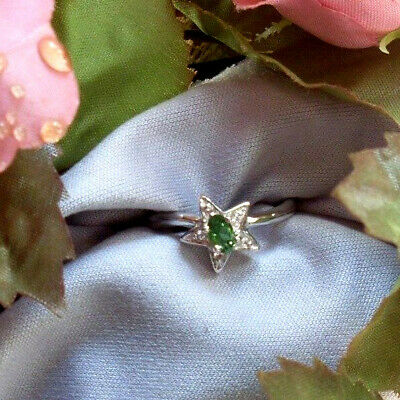 Tsavorit (grüner Granat) Silberring / Gr. 17 (Mit Zertifikat)  ()