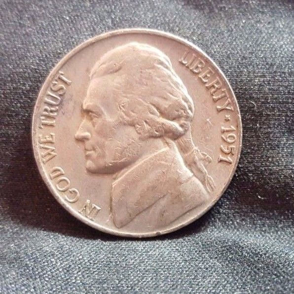 1951 S Jefferson Nickel, Circulated, Key, Mintage only 7.7 Mil -Over 900 Sold
