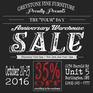 Greystone Furniture Warehouse SALE! 35% OFF EVERYTHING!