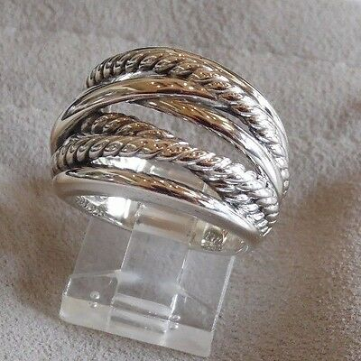 - David Yurman Wide CrossOver Sterling Silver Cable Band Ring Size 9 w/ Pouch