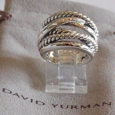 David Yurman Wide CrossOver Sterling Silver Cable Band Ring Size 6 w/ Pouch