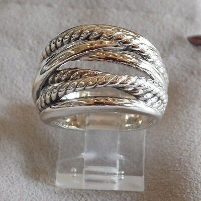 - David Yurman Wide CrossOver Sterling Silver Cable Band Ring Size 8 w/ Pouch