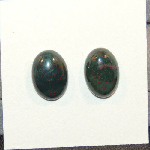 Bloodstone Cabochons 10x14mm with 4.5mm dome from India set of 2 (12499)