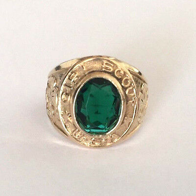 Clark and Coombs C&C Girl Scout USA Green Stone Ladies Club Ring 10K Gold Filled