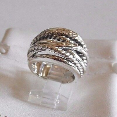 - David Yurman Wide CrossOver Sterling Silver Cable Band Ring Size 5.5 & Pouch