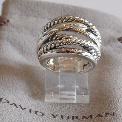 David Yurman New Wide CrossOver Sterling Silver Cable Band Ring Size 8.5 w Pouch