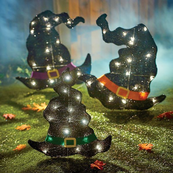 set of 3 pre lit witch hats pathway lights yard display outdoor halloween decor - Halloween Pathway Lights