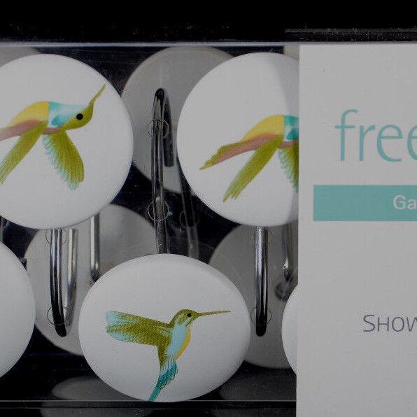 Curtains Ideas bird shower curtain hooks : Spirit Freespirit Garden Pond Shower Curtain 12 Hooks Hummingbirds ...