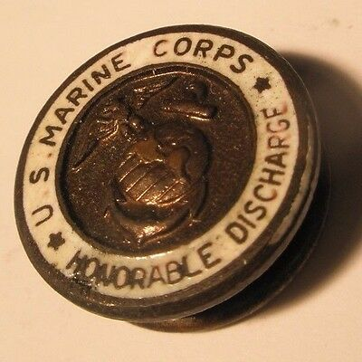 US Marine Corps Honorable Discharge Vintage Button gift