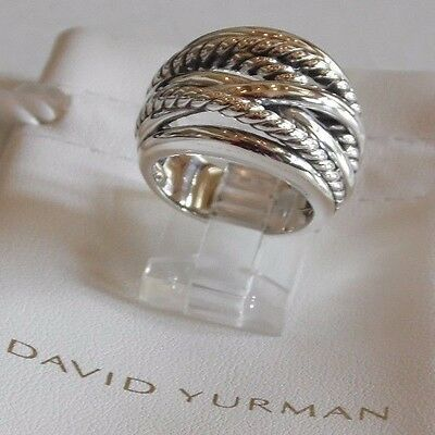 David Yurman New Wide CrossOver Sterling Silver Cable Band Ring Size 6.5 w Pouch