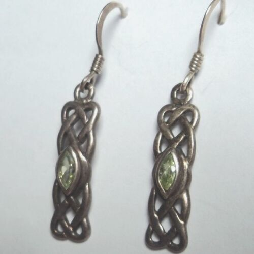 """Sterling Silver Celtic Knot Design Dangle Earrings Marquise Peridot 1.35"""" L 2.6g"""
