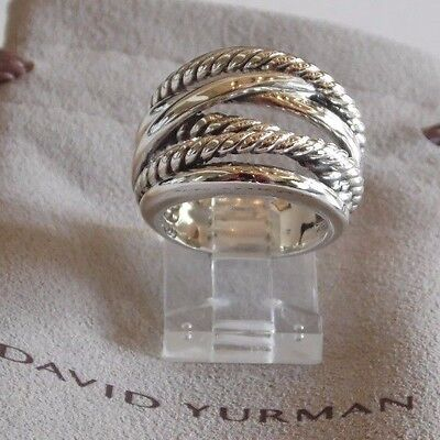 David Yurman New Wide CrossOver Sterling Silver Cable Band Ring Size 8 & Pouch