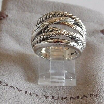 - David Yurman Wide CrossOver Sterling Silver Cable Band Ring Size 7.5 / Pouch