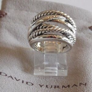 David Yurman New Wide CrossOver Sterling Silver Cable Band Ring Size 9 w/ Pouch