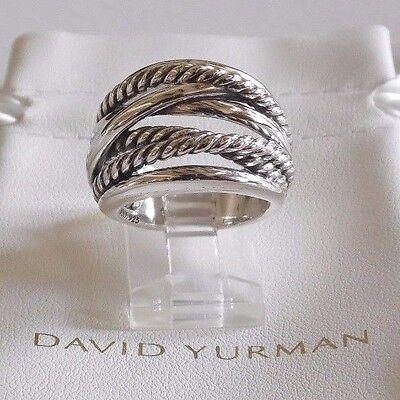 David Yurman Wide CrossOver Sterling Silver Cable Band Size 7.5 Ring w Pouch
